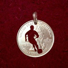 Items similar to Soccer Necklace, Cut Coin Jewelry, Soccer Keychain, Choose Chain or Key Ring on Etsy