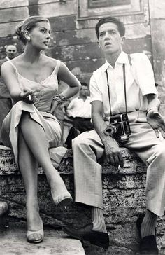 Anita Ekberg and Photographer Pierluigi Praturlon On The Set Of La Dolce Vita Rome 1960