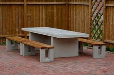 Concrete table, concrete & wood benches