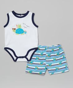 Love this Weeplay Kids Navy & Black Turtle Bodysuit & Shorts - Infant by Weeplay Kids on #zulily! #zulilyfinds