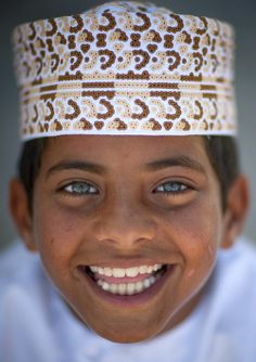 Blue eyed child in Masirah Island, Sultanate of Oman.
