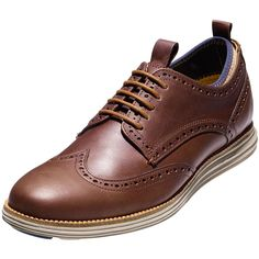 Cole Haan ?riginalGrand Neoprene-Lined Wing-Tip Oxford (4,900 MXN) ❤ liked on Polyvore featuring men's fashion, men's shoes, men's oxfords, brown, mens leather oxford shoes, cole haan mens shoes, men's wingtip oxford shoes, mens wing tip shoes and mens leather shoes