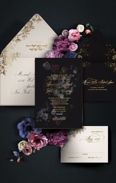 Moody romantic floral wedding invitation with gold foil accents. Love the flower… Moody romantic floral wedding invitation with gold foil accents. Love the flowers on these unique invites! by Atelier Isabey Gothic Wedding Invitations, Floral Wedding Invitations, Wedding Invitation Cards, Wedding Stationery, Event Invitations, Fine Stationery, Shower Invitations, Save The Date, Star Wedding