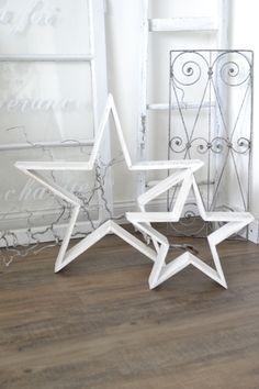 Weihnachtsdeko - XXL-Shabby- Sternen-Set zu Aufstellen - ein Designerstück von himmelweiss bei DaWanda