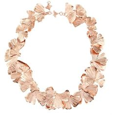 Aurélie Bidermann Ginkgo rose gold-plated necklace (¥122,640) ❤ liked on Polyvore featuring jewelry, necklaces, rose gold, leaf jewelry, aurelie bidermann necklace, black necklace, black jewelry and engraved necklaces