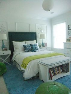 Turquoise & lime...great colors for a young girl's room!