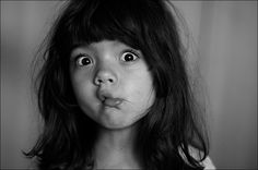 Girl, funny, child, baby, emotions, black and white