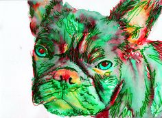 French Bulldog Dog Painting Green red, French Bull art Print watercolor Frenchie…