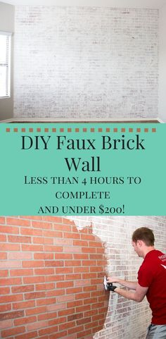 Your daily dose of Inspiration: DIY Faux Brick Wall: Easy Faux Brick Wall Using Brick Paneling Brick Wall Paneling, Faux Brick Panels, Brick Wall Decor, Paneling Ideas, White Wash Brick, White Brick Walls, Fake Brick Walls, White Bricks, Home Remodeling Diy