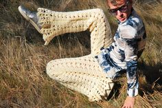 Recycled Vintage Blankets Become Crocheted Shorts For Men