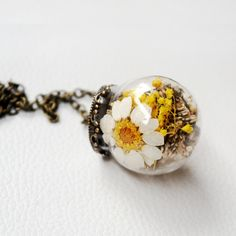 Korean Contracted Dried Flowers Glass Ball Long Sweater Chain Necklace
