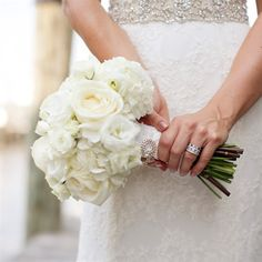 Bridal Bouquet bridal bouquets, white, neutrals, bouquet wraps, hydrangeas, ranunculuses, roses