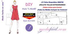 Descarga Gratis los Moldes de Vestido de Maternidad mj1126v disponibles en 12 tallas Listas para Cortar incluyendo las Tallas Extrachicas y Extragrandes