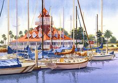 Coronado Boathouse by Mary Helmreich - Coronado Boathouse Painting - Coronado Boathouse Fine Art Prints and Posters for Sale