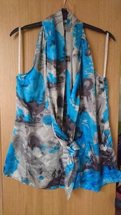 958cc93a6 Ted Baker blue and grey sleeveless silk top size 3 or UK 12