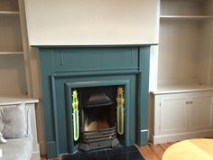 Inchyra blue & pavilion grey Inchyra Blue, Pavilion Grey, Old Victorian Homes, Cast Iron Fireplace, Victorian Fireplace, Living Room With Fireplace, Farrow Ball, Fireplace Ideas, Paint Colours