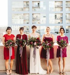 Industrial San Diego Library Wedding: Courtney + George | Mix & match bridesmaids.