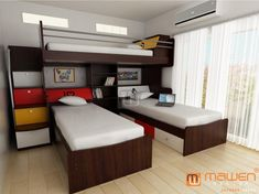 Imagen 3 Bunk Beds, Bunk Beds For Boys Room, Triple Bunk Beds, Kid Beds, Triplets Bedroom, Kids Bedroom, Big Girl Rooms, Boy Room, Beautiful Houses Interior
