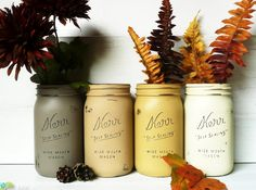 Fall Home Decor - Painted and Distressed Mason Jars