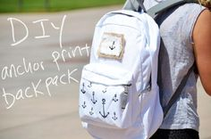 Anchors away to school with you! Or, use this DIY anchor print design to update other articles of cl Diy Embroidered Notebook, Backpack Decoration, Denim Backpack, Backpack Pattern, Anchor Print, Cool Backpacks, Favim, Looks Cool, Backpacks