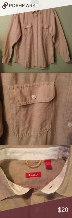 MENS IZOD LINEN SHIRT EUC, don't think it was ever worn. No tears, stains or piling. This is a classic tan linen button down, long sleeve shirt great for Spring and Summertime outings. Nice and lightweight. White trim on inside of neck band, pockets and cuffs. Label inside lower left of shirt is wrinkled but extra buttons still remain as well as washing instructions. Natural material has some white threading throughout the shirt. See photos. No loose threads. Bundle with top of same brand in…
