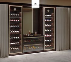 Lounge Wine Display – Wine World Wine Shelves, Wine Storage, Bar Sala, Wine Cellar Design, Wine Cellar Modern, Wine Cellar Basement, Home Wine Cellars, Home Bar Designs, Wine Display