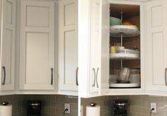Corner lazy susan wall cabinet in kitchen. | VillageHomeStores.com