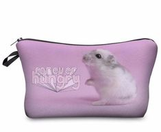 Super Cute Hamster/Gerbil Forever Hungry Pink Colorful Photo Printed Chic Women's Makeup Cosmetic Bag Zippered Pouch