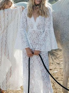 1035d78f440 Lace Flared Sleeve Split-side Maxi Cover-up