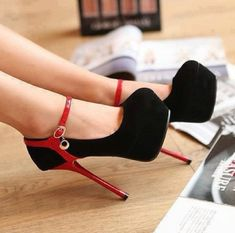 Black+and+Red+Shoes | shoes red black high heels edit tags