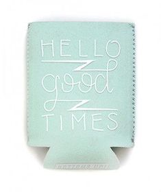 """Ban.do Bando Drink Sleeve - """"Hello Good Times"""" on Mint background"""