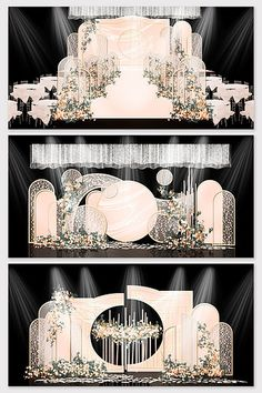Champagne romantic Chinese wedding effect picture Wedding Backdrop Design, Wedding Stage Design, Wedding Stage Decorations, Engagement Decorations, Backdrop Decorations, Wedding Backdrops, Ceremony Backdrop, Background Decoration, Oriental Wedding
