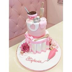 Absolutely adorable cake for Stephanie's kitchen themed bridal shower  #customcakes #cake #bridalshower #bridalshowercake #pink #kitchen #sweet #sweetindulgence #villageindulgence