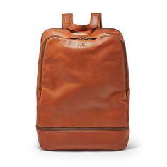 Men's Leather Backpack - Saddle