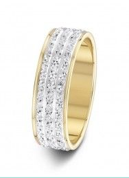 6mm two-tone 3 row wide sparkle cut wedding ring