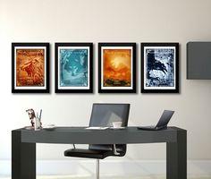 Game of Thrones Art, Game of Thrones Print, Wall decor House poster, Lannister Print, Stark, Targaryen prints, Night Watch