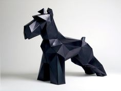 Triangular Geometric Schnauzer by CuteCubeShop on Etsy