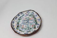 Majolica drawings plate. hand made by Rose de Borman