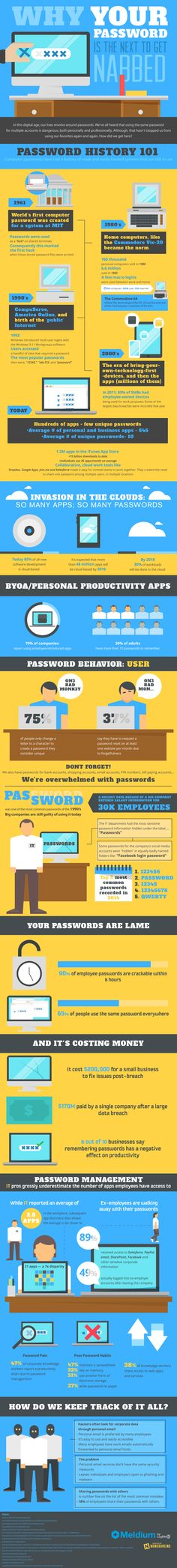 Why Your Password is Hackerbait (Infographic). Feeling hopeful about passwords? This infographic will fix that in a hurry! Best Password Manager, Password Security, Security Tips, Online Security, Security Hacking, Security Guard, Biometric Authentication, Good Passwords, Cyber Safety