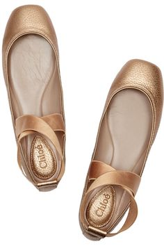 Metallic textured-leather ballet flats  chloe.  very much like pointe shoes so pretty!