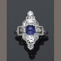 An art deco sapphire, diamond and platinum ring