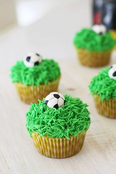Edible soccer ball and grass cupcakes. Made by CupCasions Kelowna. Soccer Cupcakes, Soccer Birthday Cakes, Soccer Cake, Birthday Cupcakes, Soccer Birthday Parties, Football Birthday, Soccer Party, Football Cookies, Custom Cupcakes
