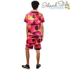 Pink Sunset Mens Cabana Set | Hawaiian Shirt & Boardies Loud Bucks Night