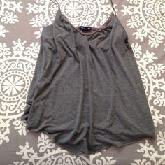 Grey AE tank top Very cute! Has a built in bra with out pads. American Eagle Outfitters Tops Tank Tops