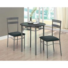 @Overstock - Use this modern three-piece bistro set to have coffee with a friend or to read the newspaper. This set comes with a table and two chairs with microfiber seats. It is made out of metal with a black and silver finish. Assembly is required.http://www.overstock.com/Home-Garden/Black-Silver-Metal-3-piece-Bistro-Set/6813523/product.html?CID=214117 $184.99