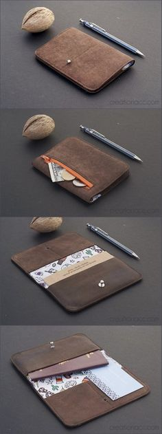 brown leather wallet with pattern fabric. Unique, be yourself, choose a custom wallet. Brown Leather Wallet, Handmade Leather Wallet, Leather Notebook, Leather Journal, How To Make Leather, Handmade Wallets, Fabric Journals, Leather Cover, Cowhide Leather