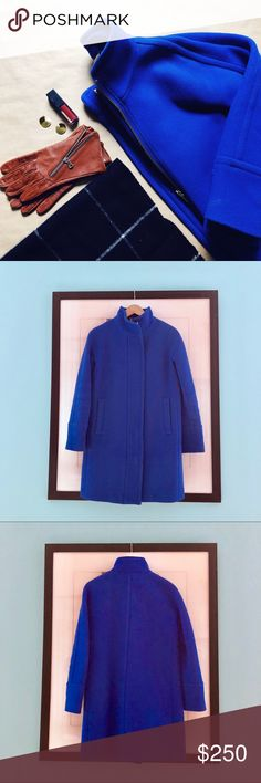 🦃 SALE! J.Crew Stadium Cloth Cocoon Coat A winter staple in a punchy color! Crazy warm Stadium Cloth Cocoon Coat from J.Crew in a brilliant royal blue. It will brighten up your every winter day! Great condition.   Don't like the price? 💸 Make me an offer with the button below! 👇🏻 J. Crew Jackets & Coats Pea Coats