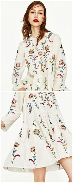A White Embroidery Dress is now available at $49. Inspired by the boho chic style trend. Fashion trend and styles from hippie chic, modern vintage, gypsy style, boho chic, hmong ethnic, street style, geometric and floral outfits. We Love boho style and embroidery stitches. Hippie girls with free spirit sharing woman outfit ideas and bohemian clothes, cute dresses and skirts.