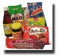 L, Chocolate, Crunchie Bars, Twisties, Chocolate Fish, Toffee Pops, Minties & Pineapple Lump candy