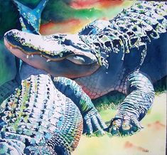 """Gator 15"" by Kathleen Maling. I enjoy the variety of colors that she uses in painting alligators!"